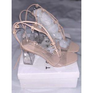 RESORT Natural Lace Up Transparent Heels